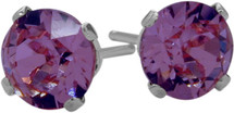 0.90Ct. Genuine 5mm Round Amethyst 14 Karat White Gold Stud Earrings