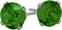 0.90Ct. Created 5mm Round Emerald 14 Karat White Gold Stud Earrings