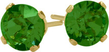 0.90Ct. Created 5mm Round Emerald 14 Karat Yellow Gold Stud Earrings