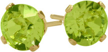 1.00 Ct. Genuine 5mm Round Peridot 14 Karat Yellow Gold Stud Earrings