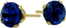 1.20Ct. Created 5mm Round Sapphire 14 Karat Yellow Gold Stud Earrings