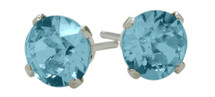 1.10Ct. Genuine 5mm Round Blue Topaz 14 Karat White Gold Stud Earrings