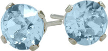 1.10Ct. Created 5mm Round Aquamarine 14 Karat White Gold Stud Earrings