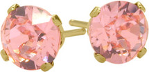 1.70Ct. Created 5mm Round Tourmaline 14 Karat Yellow Gold Stud Earrings