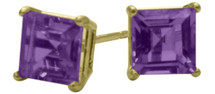 1.20Ct. Genuine 5mm Square Princess Cut Amethyst 14 Karat Yellow Gold Stud Earrings