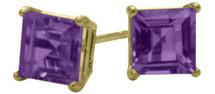 1.20Ct. Genuine 5mm Square Princess Cut Amethyst 14 Karat Yellow Gold Stud Earrings
