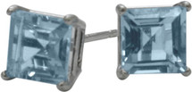 1.20Ct. Created 5mm Square Princess Cut Aquamarine 14 Karat White Gold Stud Earrings