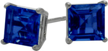 1.20Ct. Created 5mm Square Princess Cut Sapphire 14 Karat White Gold Stud Earrings