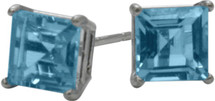 1.55Ct. Genuine 5mm Square Princess Cut Blue Topaz 14 Karat White Gold Stud Earrings