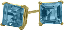 1.55Ct. Genuine 5mm Square Princess Cut Blue Topaz 14 Karat Yellow Gold Stud Earrings