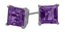0.65Ct. Genuine 4mm Square Princess Amethyst 14 Karat White Gold Stud Earrings