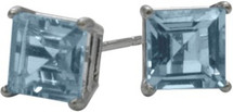 0.65Ct. Created 4mm Square Princess Aquamarine 14 Karat White Gold Stud Earrings