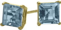 0.65Ct. Created 4mm Square Princess Aquamarine 14 Karat Yellow Gold Stud Earrings