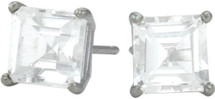 0.84tcw. Genuine 4mm Square Princess White Topaz 14 Karat White Gold Stud Earrings