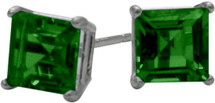 0.65Ct. Created 4mm Square Princess Emerald 14 Karat White Gold Stud Earrings