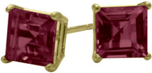 0.86Ct. Genuine 4mm Square Princess Rhodolite 14 Karat Yellow Gold Stud Earrings