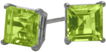 0.75Ct. Genuine 4mm Square Princess Peridot 14 Karat White Gold Stud Earrings