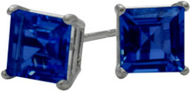 0.84Ct. Created 4mm Square Princess Cut Sapphire 14 Karat White Gold Stud Earrings