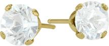 0.65Ct. Genuine 4mm Round White Topaz 14 Karat Yellow Gold Stud Earrings