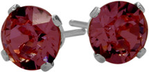 0.65Ct. Genuine 4mm Round Rhodolite 14 Karat White Gold Stud Earrings