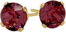0.65Ct. Genuine 4mm Round Rhodolite 14 Karat Yellow Gold Stud Earrings
