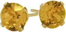 0.80Ct. Genuine 4mm Round Citrine 14 Karat Yellow Gold Stud Earrings