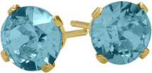 0.50Ct. Genuine 4mm Round Blue Topaz 14 Karat Yellow Gold Stud Earrings
