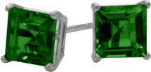 1.10Ct. Created 5mm Square Princess Cut Emerald Sterling Silver Stud Earrings with Rhodium Plating
