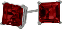 1.50Ct. Created 5mm Square Princess Cut Ruby Sterling Silver Stud Earrings with Rhodium Plating