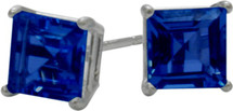 1.20Ct. Created 5mm Square Princess Cut Sapphire Sterling Silver Stud Earrings with Rhodium Plating