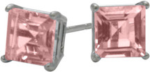 2.00Ct. Created 5mm Square Princess Cut Tourmaline Sterling Silver Stud Earrings with Rhodium Plating