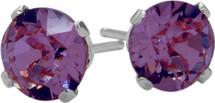 Genuine Round Amethyst Sterling Silver Stud Earrings with Rhodium Plating