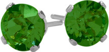 Created Round Emerald Sterling Silver Stud Earrings With Rhodium Plating