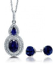 4.50Ct. Sterling Silver Created Sapphire Double Halo Pendant & Earring Set
