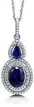2.68Ct. Sterling Silver Created Sapphire Double Halo Pendant