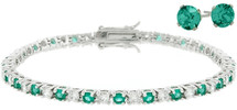 Ladies 10 Carat Created Emerald Tennis Bracelet & Earring Set