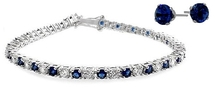 Ladies 10 Carat Created Sapphire Tennis Bracelet & Earring Set