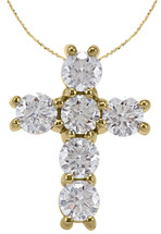 Petite 14 Karat Yellow Gold Diamond Cross