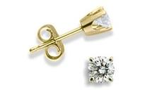 14 Karat Yellow Gold BABY 0.14 TCW Diamond Stud Earrings