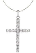 Diamond 14 Karat White  Gold Cross with Chain