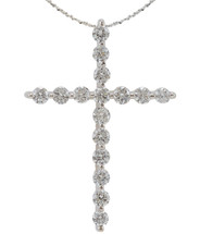 14 Karat White Gold Diamond Cross with Chain