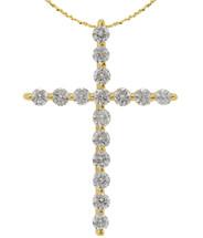 14 Karat Yellow Gold Diamond Cross with Chain