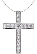 14 Karat White Gold Round Diamond Cross with Chain
