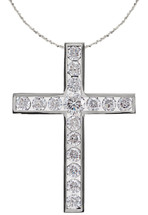 14 Karat White Gold Round Diamond Cross with Chain