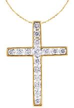 14 Karat Yellow Gold Round Diamond Cross with Chain