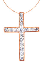 14 Karat Rose Gold Round Diamond Cross with Chain