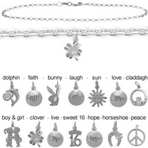 Sterling Silver CHOOSE YOUR CHARM Flat Cable Anklet