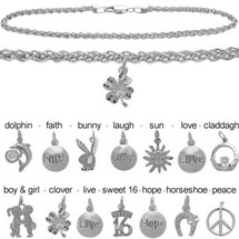 Sterling Silver CHOOSE YOUR CHARM Wheat Anklet