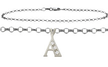 Diamond Initial 10 Karat White Gold CHOOSE YOUR LETTER Cable Anklet