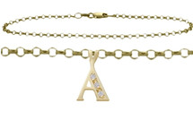 Diamond Initial 10 Karat Yellow Gold CHOOSE YOUR LETTER Cable Anklet